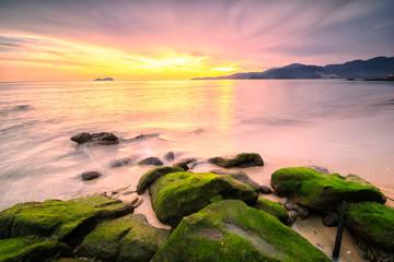 Panoramic view of  the golden sunset at Sungai Batu beach, Teluk Kumbar