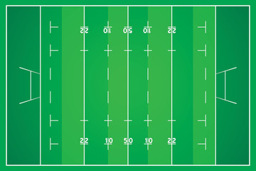 Rugby field with marking from top view.