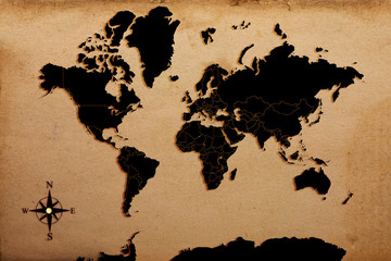 world map on paper texture