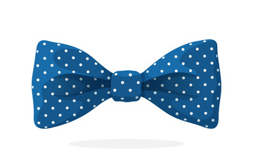 Blue bow tie with print a polka dots. Vector illustration in cartoon style. Vintage elegant bowtie. Men's clothing accessories.