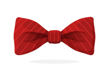 Red bow tie with print in diagonal stripes. Vector illustration in cartoon style. Vintage elegant bowtie. Men's clothing accessories.