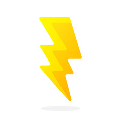 Electric lightning bolt isolated on white background. Vector illustration in flat style. Weather symbol. Thunderbolt strike symbol