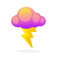 Electric lightning bolt with cloud isolated on white background. Vector illustration in flat style. Weather symbol