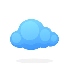 Blue cloud isolated on white background. Vector illustration in flat style. Weather symbol