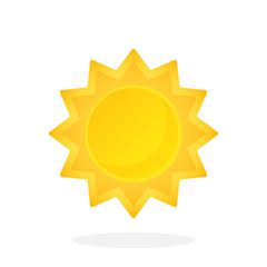 Cute sun with triangular rays isolated on white background. Vector illustration in flat style. Weather symbol