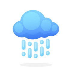 Cloud with rain isolated on white background. Vector illustration in flat style. Weather symbol