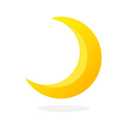 Cute crescent isolated on white background. Half moon. Vector illustration in flat style. Weather symbol
