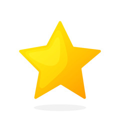 Gold star on white background. Vector illustration in flat style. Favorite symbol. Weather symbol