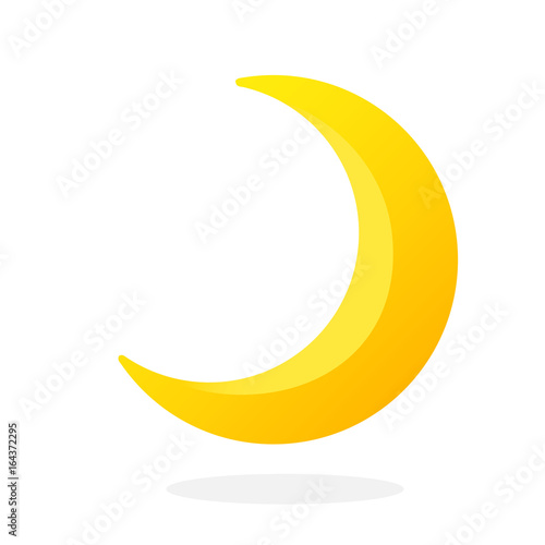 Cute Crescent Isolated On White Background Half Moon Vector