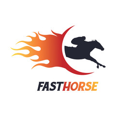 Fast Fire Horse Symbol Logo Template