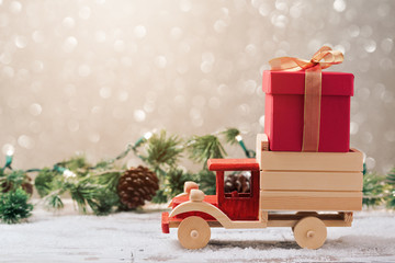 Christmas gift box on toy truck