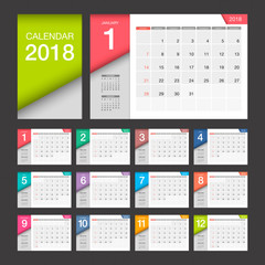 2018 Calendar. Desk Calendar modern design template. Week starts Sunday. Vector illustration.