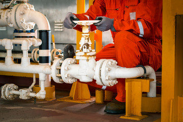 Technician,Hand of technician during open or close manual ball valve for control process in oil and gas flatform offshore
