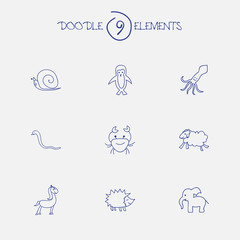 Set Of 9 Editable Animal Icons. Includes Symbols Such As Serpent, Ewe, Pony And More. Can Be Used For Web, Mobile, UI And Infographic Design.