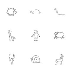 Set Of 9 Editable Animal Icons. Includes Symbols Such As Tortoise, Tall Animal, Urchin And More. Can Be Used For Web, Mobile, UI And Infographic Design.