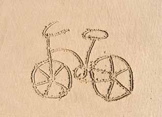 bicycle drawing on the sand