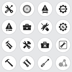 Set Of 16 Editable Service Icons. Includes Symbols Such As Screwdriver, Caution, Wrench Hammer And More. Can Be Used For Web, Mobile, UI And Infographic Design.
