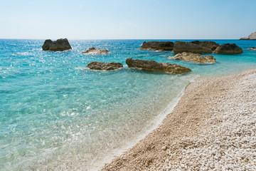 Beaches on Lefkada in Greece. Porto Katsiki beach