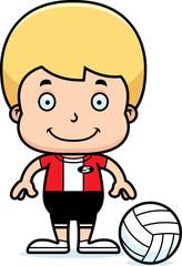 Cartoon Smiling Volleyball Player Boy