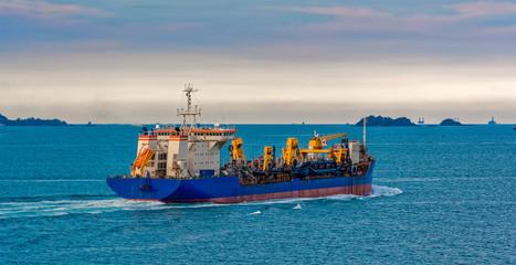 Hopper Dredger vessel in Strait of Singapore