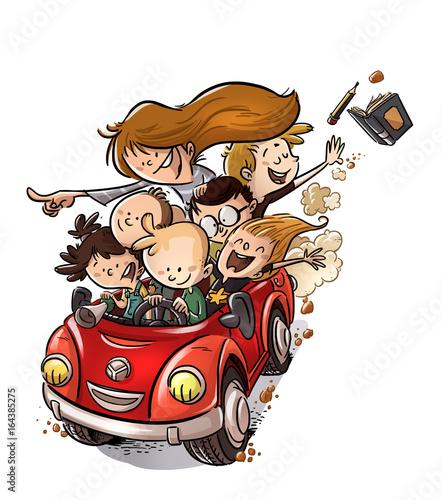 niños felices en coche saliendo del colegio
