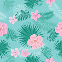 Seamless pattern with tropical leaves and summer pink flowers for textile, wallpapers, gift wrap, covers and scrapbook.  Vector illustration.