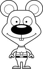 Cartoon Smiling Superhero Mouse