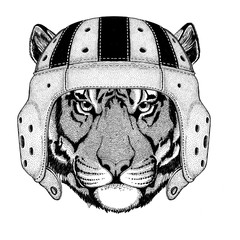 Wild tiger Wild animal wearing rugby helmet Sport illustration