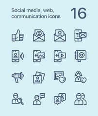 Outline Social media, web, communication icons for web and mobile design pack 2