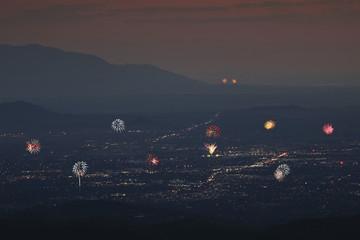 A Santa Fe and Albuquerque Fireworks Aerial Shot