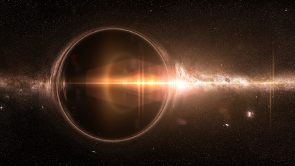 black hole with gravitational lens effect and the Milky Way galaxy