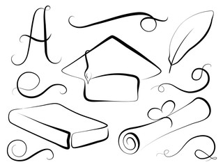 Graduation cap and education element in calligraphy style. Graduation day vector clipart.