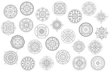 Thin line mandala ornament vector clipart. Black and white mandala coloring elements.