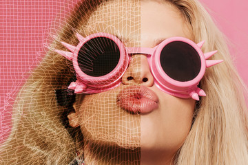 Pop girl with kissing mouth, abstract portrait