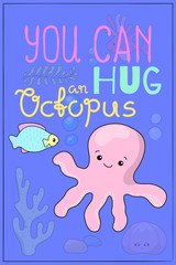 Cute octopus cartoon vector illustration. Underwater animal of tropical seashore.