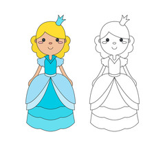 Coloring page outline of cartoon beautiful princess