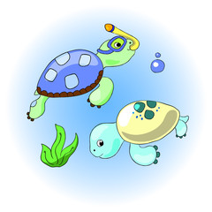 Sea turtles with snorkeling gear and seaweed