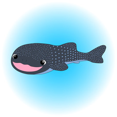 Smiling whale shark cartoon vector illustration. Sea animal in nursery style.