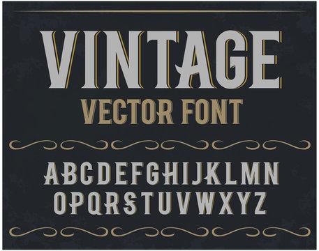 Vector vintage label font. Retro font.