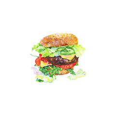 Hand drawn cheeseburger with vegetables. Watercolor meet fast food. Painting isolated summer barbecue illustration on white background