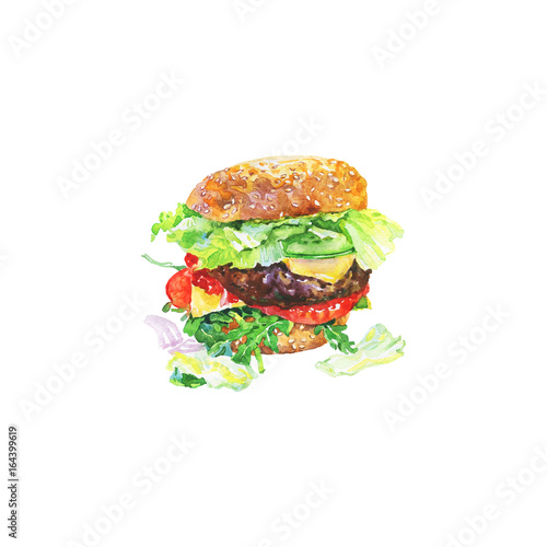 Hand drawn cheeseburger with vegetables  Watercolor meet