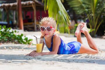 little girl on the beach drinking exotic cocktail, sea, ocean, bikini, summer, tropical, outdoors