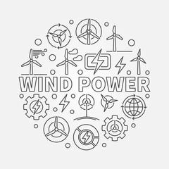 Wind power outline illustration