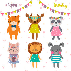 Happy birthday design with cute cartoon animals. Funny greeting card. Postcard