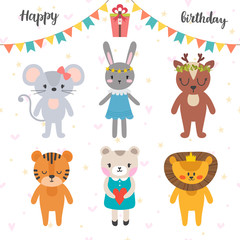 Happy birthday design with cute cartoon animals. Funny greeting card