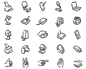 outline icons of office equipment