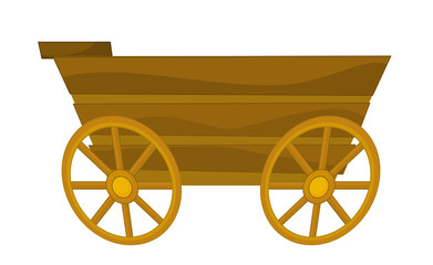 cartoon wooden wagon - illustration for children
