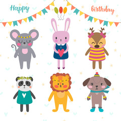 Set of cute cartoon animals for Happy Birthday design. Funny background