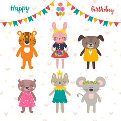 Set of cute cartoon animals for Happy birthday design. Postcard for celebrate