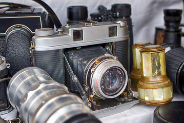 Old dusty camera. Technology of the last century. Premium photography equipment. Vintage appliances.